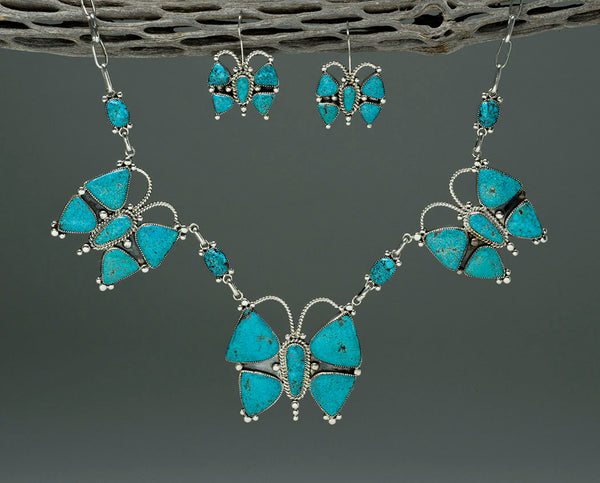 Kingman Turquoise Butterfly Necklace and Earring Set