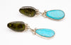 Natural Serpentine & Natural Kingman Turquoise Earrings