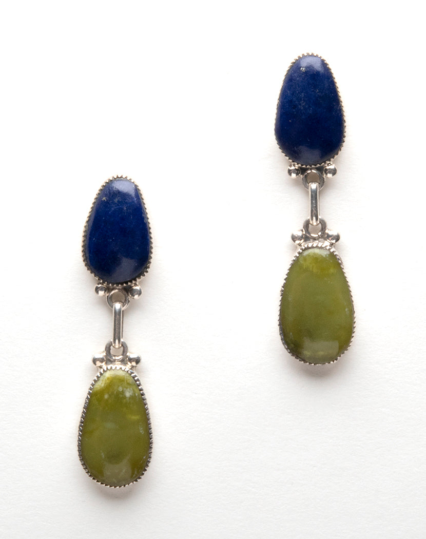 Lapis & Serpentine Drop Earrings