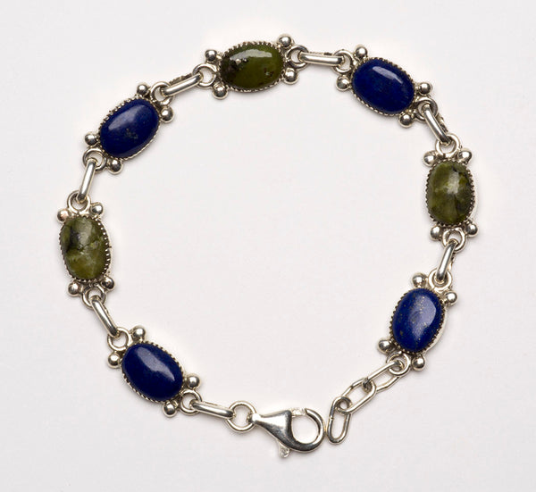 All Natural Lapis Lazuli & Serpentine Link Bracelet