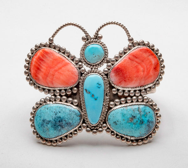 All Natural Sleeping Beauty Turquoise, Compitos Turquoise & Spiny Oyster Shell Butterfly Cuff Bracelet
