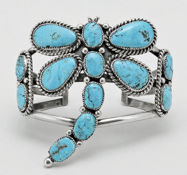 Natural Sleeping Beauty Turquoise Dragonfly Cuff Bracelet