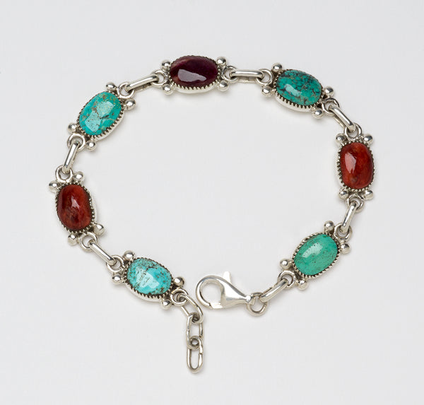 Sterling Silver Natural Fox Turquoise and Spiny Oyster Link Bracelet