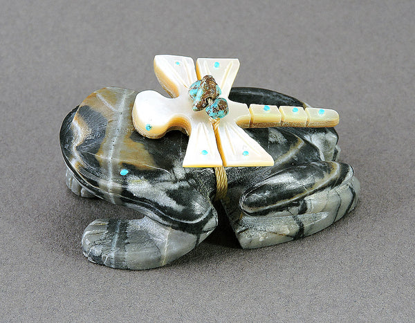 Picasso Marble Frog With A Gold Lip Shell Dragonfly