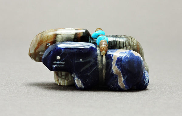 Carefree Bunny Pair of Sodalite & Picasso Marble