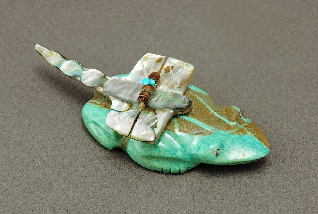 Turquoise Frog & Abalone Dragonfly