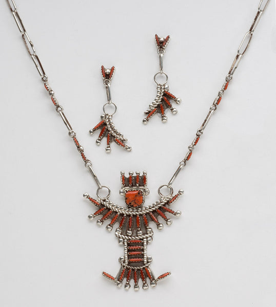 Petit Point Coral Knifewing Necklace and Earring Set