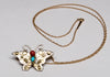 Gold, Sterling Silver, Red Coral & Sleeping Beauty Turquoise Butterfly Pendant With Chain