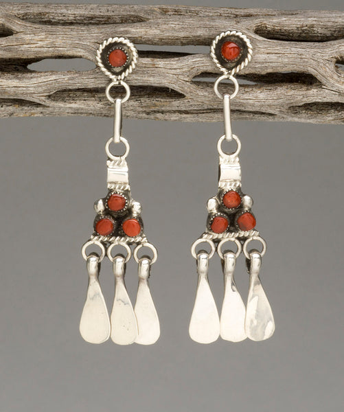 Red Coral Dangle Earrings