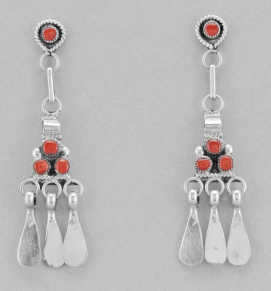 Red Coral Petit Point Dangle Earrings