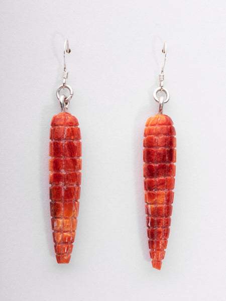 Carved Spiny Oyster Shell Corn Earrings