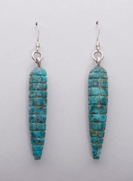 Carved Turquoise Corn Earrings