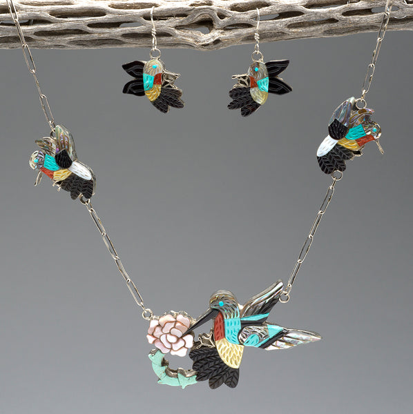 Inspired Of Grandmother Ella's Hummingbird Necklace & Earrings Set