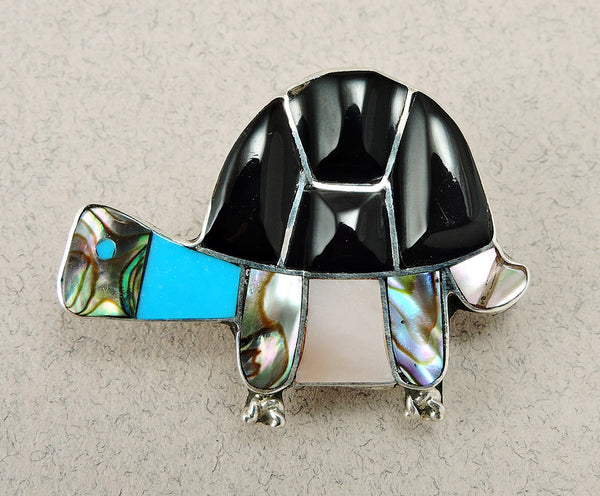 Jet, Abalone, Turquoise & Pink Mussel Shell Turtle Pendant