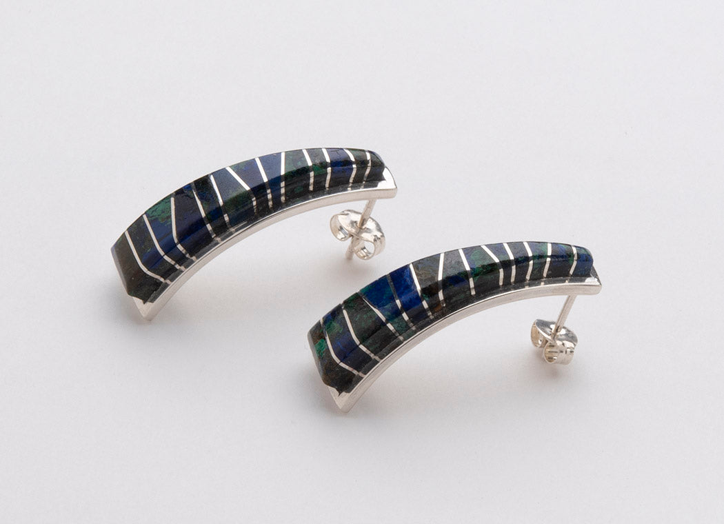Vibrant Azurite & Sterling Silver Earrings
