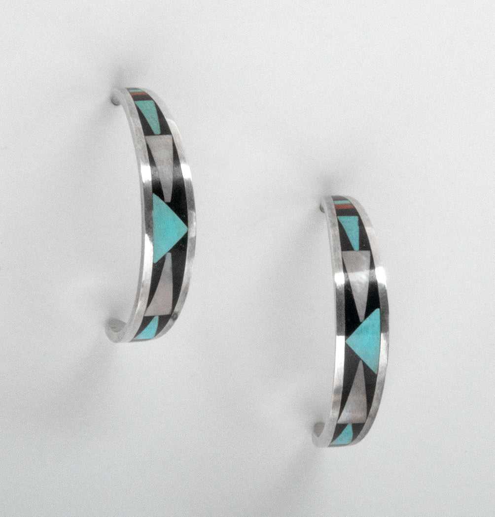 Turquoise, Red Coral, Mother-Of-Pearl & Jet Inlaid Half Hoop Earrings