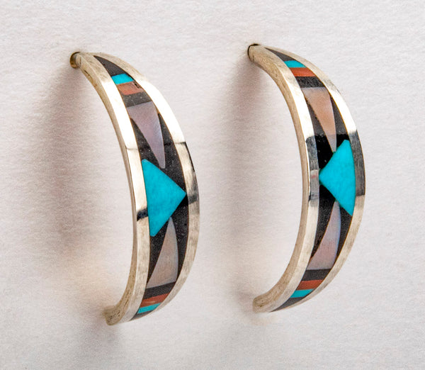Inlaid Half Hoop Earrings