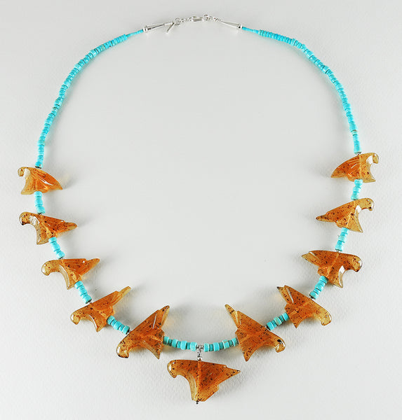 Reversible Amber Eagle Pendant Necklace