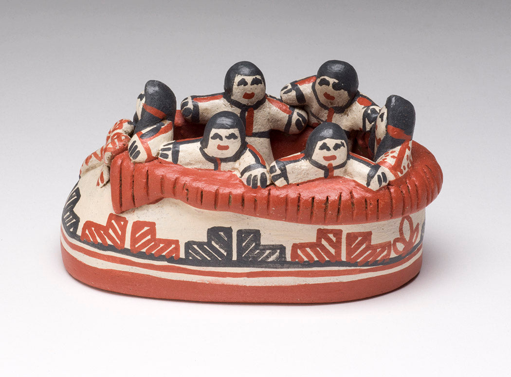 Pueblo Children In Moccasin Pottery