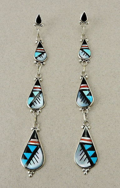 Turquoise, Red Coral, Mother-Of-Pearl & Jet Inlaid Earrings