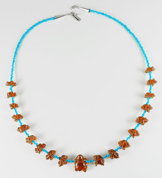 Turquoise & Amber Frog Fetish Necklace