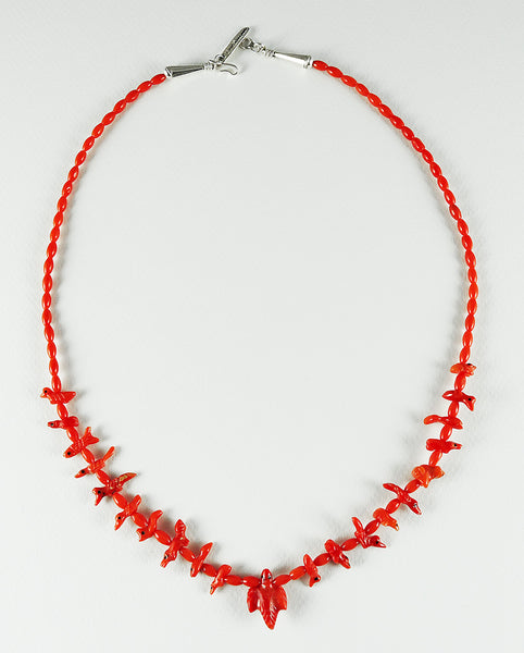 Single Strand Natural Red Coral Animal Fetish Necklace