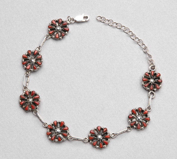 Sterling Silver & Natural Red Coral Petit Point Link Bracelet