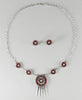 Natural Red Coral Petit Point Necklace & Earrings Set