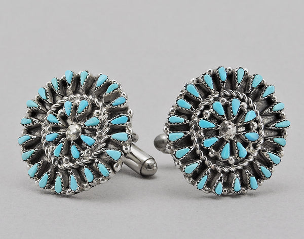 Sterling Silver Cuff Links with Turquoise Petit Point Inlay
