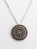 Intricate Turquoise and Coral Petit Point Pin/ Pendant