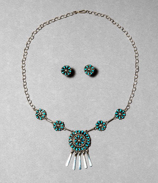 Sleeping Beauty Turquoise Petit Point Necklace & Earrings Set
