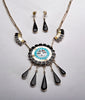 Channel Inlay Sunface Necklace and Earring Set
