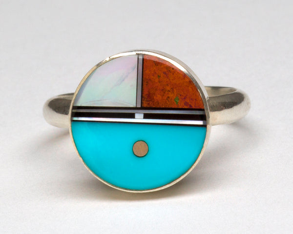 Sleeping Beauty Turquoise, Cuprite, Mother-Of-Pearl & Jet Inlaid Sunface Ring
