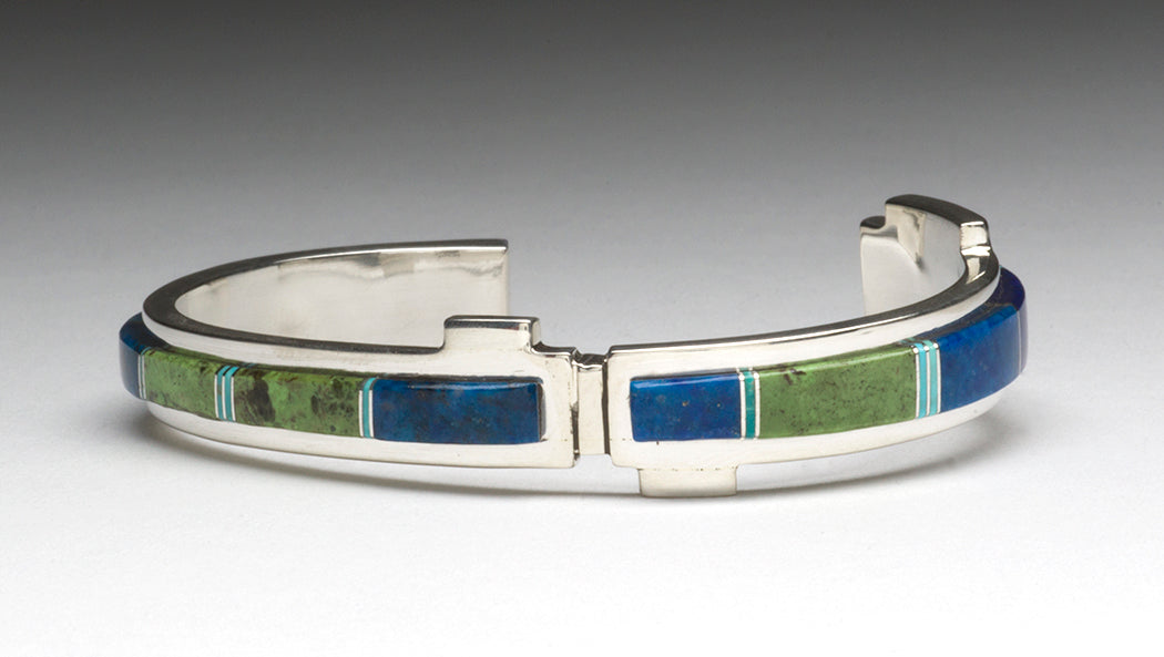 Raised Channel Inlay Cuff Bracelet