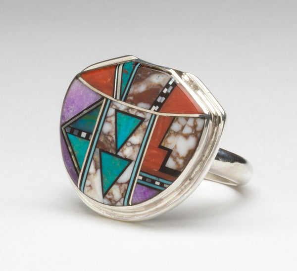 Stone To Stone Inlay Pottery Jar Design Ring