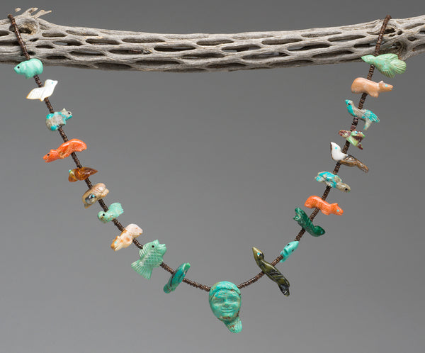 Zuni Man & Many Animals Single Strand Fetish Necklace