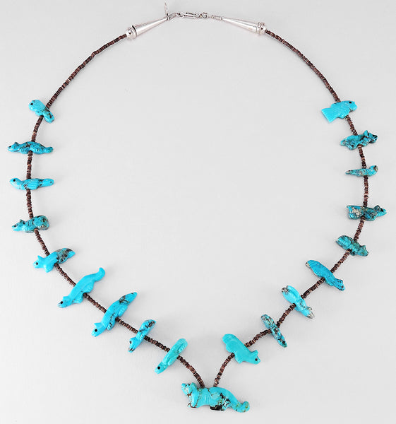 Many Animals Of Turquoise Single Strand Fetish Necklace