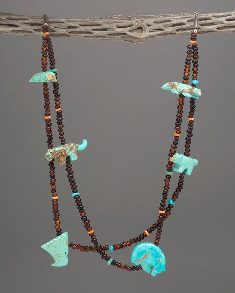 Kingman Turquoise & Amber Six Direction Fetish Necklace