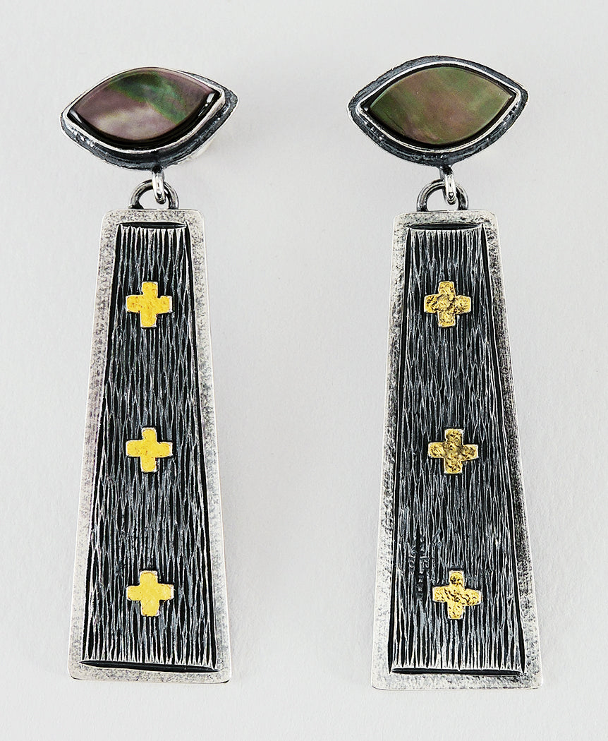 Sterling Silver, 24K Gold & Black Lip Shell Earrings
