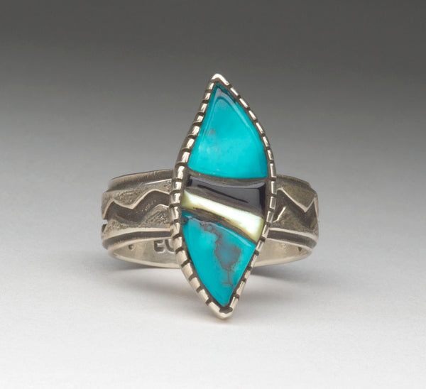 Turquoise, Jet & Mother-Of-Pearl Stone To Stone Inlaid Ring
