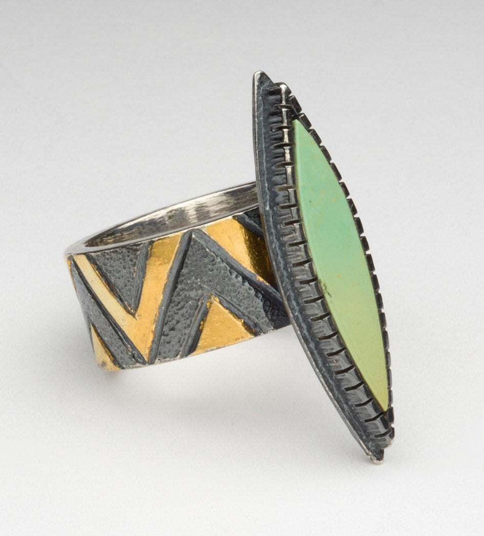 Keum-Boo Ring With Royston Turquoise