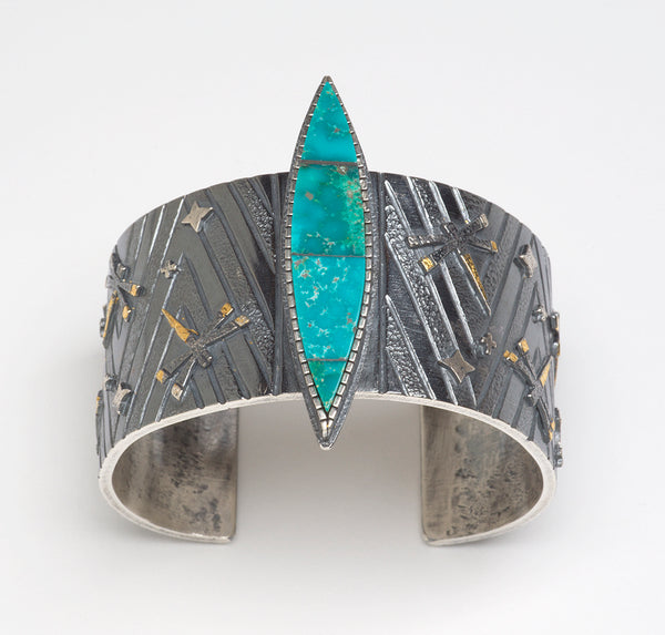 Royston Turquoise, 24K Gold & Reticulated Sterling Silver Cuff Bracelet