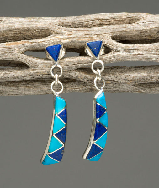 Kingman Turquoise & Lapis Lazuli Channel Inlay Earrings