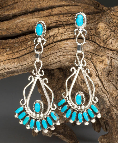 Sleeping Beauty Turquoise Cluster Work Earrings
