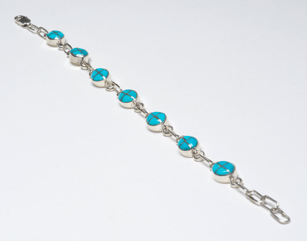 Sleeping Beauty Turquoise Channel Inlay Link Bracelet