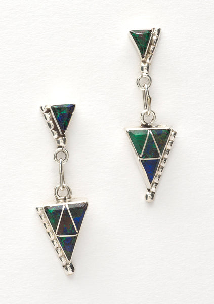 Azurite With Malachite Channel Inlay Earrings