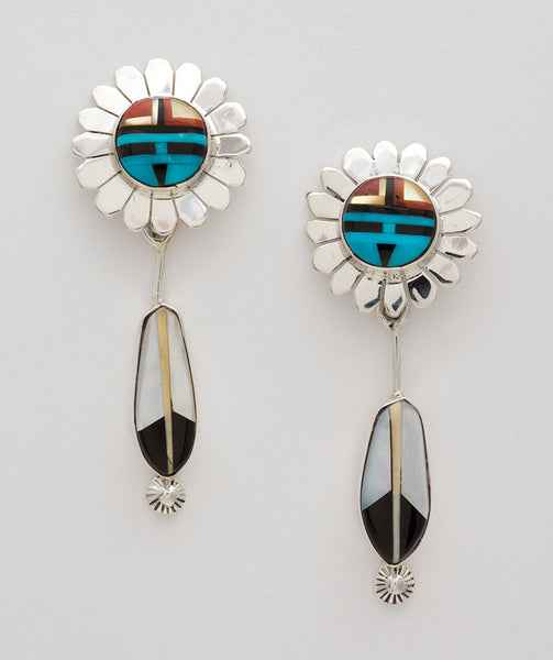 Glorious Sunface & Feather Inlaid Earrings