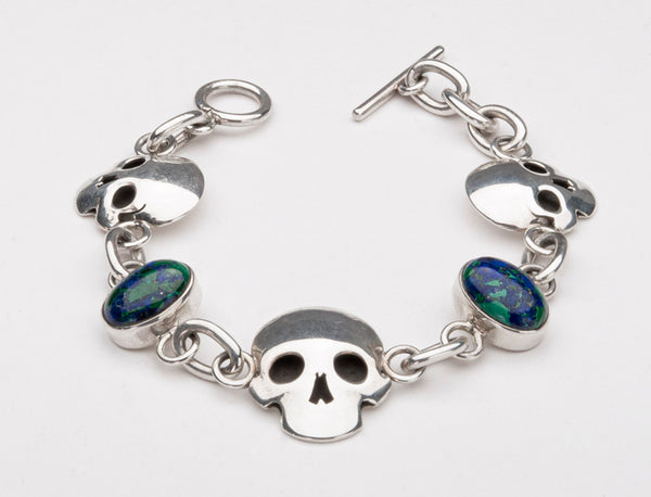 Skull Bracelet With Azurite and Malachite Cabochons