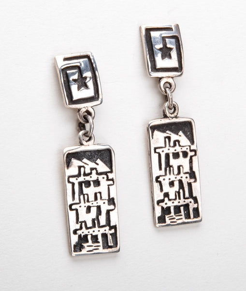 Sterling Silver Pueblo Overlay Earrings