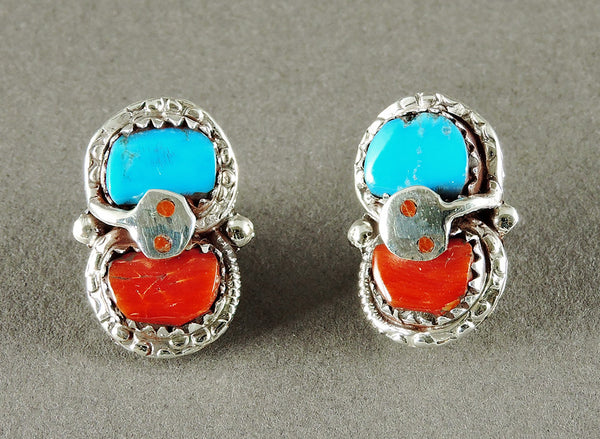 Turquoise & Red Coral Snake Earrings